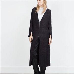 🏆ZARA Knits Long Zip Split Sleeve Sweater Coat M